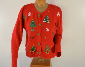 sale Vintage Nutcracker crazy CHRISTMAS cardigan sweater beaded ulgy xmas