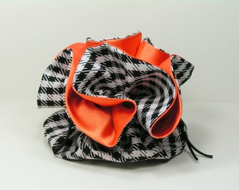 Black and White Houndstooth with Orange Satin Jewelry Pouch - Bridesmaid Gift - Wedding - Travel Pouch - Stocking Stuffer