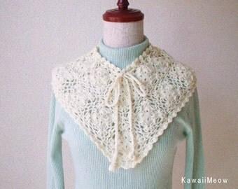 SALE Kawaii Crochet Motif Cape -Off-white-