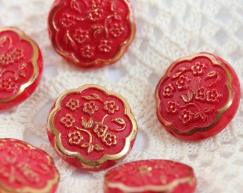 Vintage - Oriental Gold Painted Floral Carved Glass Shank Buttons (6) Crimson, Shanks