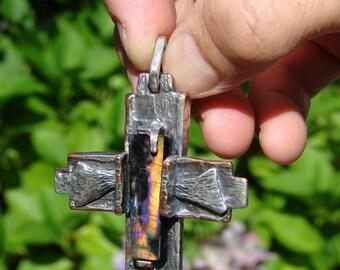 St Franciscan Tau Cross Mokume silver copper hand crafted jewelry art cross ,Spectrolite power gem stone