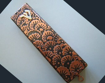 Etched Copper Mezuzah with Sterling Silver Shin