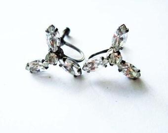Sterling Silver Vintage Rhinestone Earrings