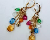 Pink Sapphire Earrings Multicolor Gemstone Wire Wrapped Long Gold Chain Dangle Earrings Colorful Earrings Gift for Her