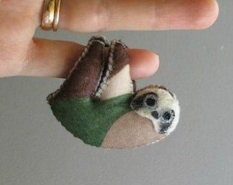 Sloth in Camouflage plush Military sloth toy with bendable legs - hand painted face - rain forest animal