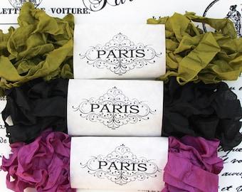 Scrunched Seam Binding Ribbon-Purple Crinkled - Ribbon Purple- Black -Green -French Vintage-Doll Making-Scrapbooking-Australia- Paris Opera