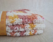 Cotton Dish Cloths - Dusty Pink, Gold, White - Crocheted 3 Piece Set
