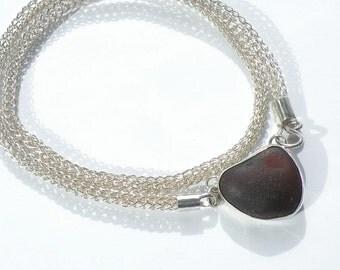 Black Heart Necklace, Hand Woven Chain, Black Heart SeaGlass, Black Beach Glass, Sea Glass Jewelry, Bold Black Heart, Ocean Beach SF