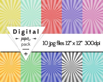 Candy Swirl Star Burst Paper Pack - 10 Printable Digital Scrapbooking Papers - 12 x 12 - 300 DPI - INSTANT DOWNLOAD