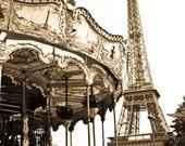 Paris Photography - Golden View ,Paris Architecture, Paris Decor, Nursery Decor, Whimsical, Carousel in Paris, Paris Eiffel Tower