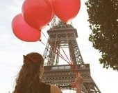 Red Balloons in Paris, Eiffel Tower, Paris Photography, Girl in Paris, Along the Seine, French Home Decor, Paris Art for Girls