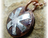Pure Copper and Sterling Silver Domed Rustic Locket Personalized Medical ID Necklace - Diabetes, Epilepsy, Allergies - Handmade to Order