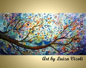 Abstract Art Decor You May Kiss the Bride Whimsical Love Birds Wedding Tree Landscape Giclee Painting by Luiza Vizoli 48x24