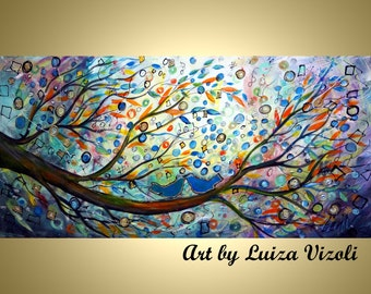 ORIGINAL Abstract Art Decor You May Kiss the Bride Whimsical Love Birds Wedding Tree Landscape CANVAS by Luiza Vizoli 48x24