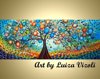 Original Large Painting TREE of LIFE Whimsical Landscape Made to Order 60 x24 other sizes available