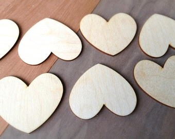 12 Pieces- Craft Wood Shapes Hearts