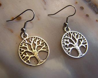 Silver Tree of LIfe Earrings - tree of life jewelry - tree earrings - hypoallergenic earrings - french hooks - coyoterainbow winter tree
