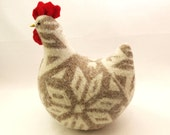 Easter Hen Chicken Home Decor Hen Upcycled Wool Knitwear Lamb Wool Stuffing Eco Friendly Home Decor - ForMyDarling