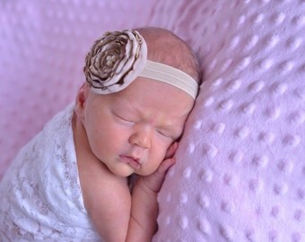 Oatmeal Khaki Ruffled Lace Boutique Flower with Pearls On Elastic Headband Free Shipping On All Additional Items