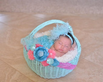 Aqua Curly Ostrich Puff with Matching Headband Free Shipping On All Additional Items