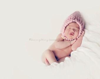 Cute Hooded Bonnet Hat Pink  Photo Prop Chunky Ear Flap Custom Gnome Elf Winter Fall Newborn NB Infant Toddler Child