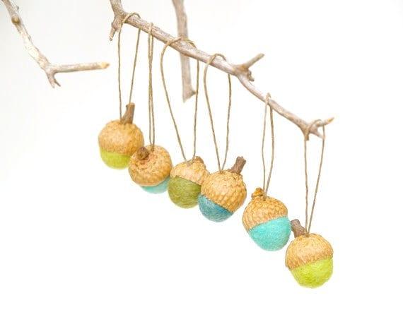 Rustic Acorn Ornaments, Woodland Christmas, Autumn & Fall Decorations. All Natural - 10