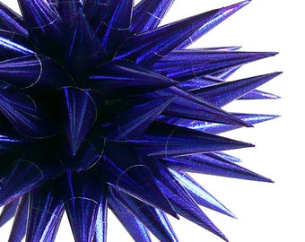 Handmade Blue Paper Star Decoration Celestial Home Decor Spiky Decorative Ball Hanukkah Polish Jeżyk Metallic Cobalt - Midnight Blue, 4 inch