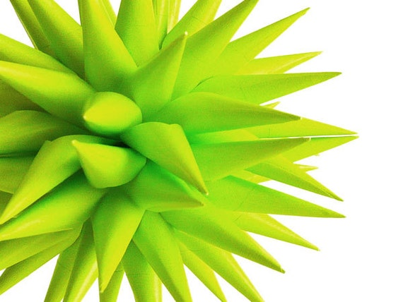 Modern Eco Friendly Home Decor Halloween Decorations Star Urchin Ornament Bright Neon Green Paper Ornament - Chartreuse, 4 inch
