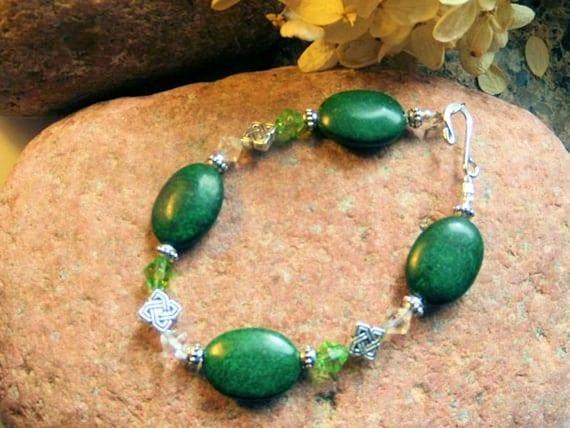 Celtic Knot Bracelet, Emerald Green Jasper Bracelet, Celtic Jewelry, Gemstone Jewelry, Handcrafted Jewelry