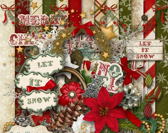 Digital Scrapbooking Kit - LET IT SNOW - 13 Papers, 40 plus Elements