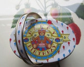Small Vintage Tin box * Ring bearer Box * 1980's Import Tin w/ Handle * Birthday Bear Oval Tin