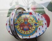 Small Vintage Tin box * Ring bearer Box * 1980's Import Tin w/ Handle * Birthday Bear Oval Tin