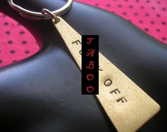 F Off, Key Chains for Men, Brass Keyring, Triangle Key Ring, Stamped Jewelry, F You, Brass Keychain, Mens Keychain, Unisex, MATURE