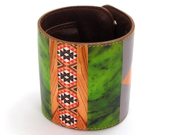 Leather cuff / wallet wristband - Tribal in Emerald and Woodgrain