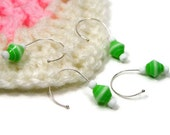 Crochet Stitch Markers Set, Removable, Snag Free, Beaded, DIY Crafts, Gift, Green, White, TJBdesigns