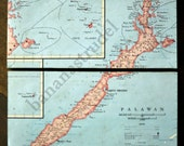 1959 Large Rare Vintage Map of Palawan Province, the Philippines. On Wood Panels / Ready to Hang