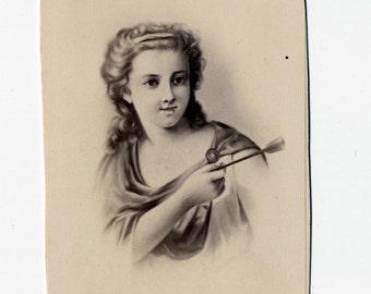 1860s - 1870s Antique CDV Photograph. Cupid Foiled