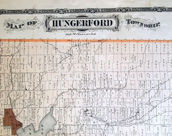 1878 Antique Map of Hungerford Township, Ontario - With Stoco, Thomasburg, Marlbank - Large hand coloured map