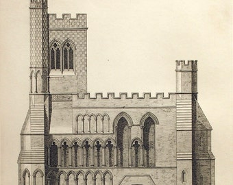 1845 Rare Large English Antique Engraving of British Architectural Gems. Norman Era. Dunstable Priory Church, Bedfordshire Plate 40