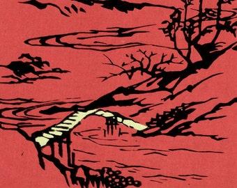 1956 Vintage Japanese Handcrafted Silkscreen Print. Sheet 3