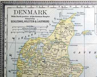 1891 Antique Map of Denmark - with part of the German Empire (Schleswig, Holstein, and Lauenburg) - Inset of Iceland
