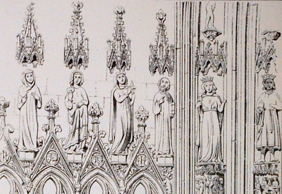 1872 English Large Antique Plate of Gothic Architectural Details of the Arcade, Freiburg Cathedral, Germany. Plate 73 - Architectural Print