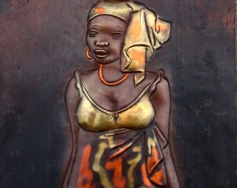 "African Copper Art  - African Beauty Serenely Carrying Pot -Congo DRC - 8"" X 12"""