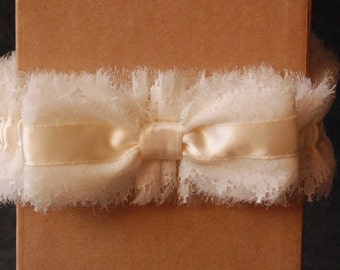 Wedding Garter - Ivory Chiffon and Lace Bridal Garter with Bow - Emmi