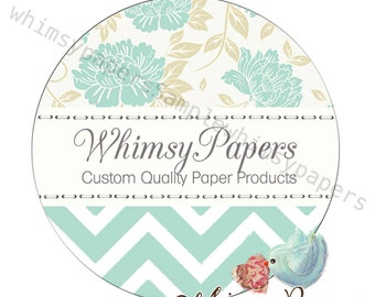 "Teal Chevron Labels,  Floral ""Thank You"" stickers, 1.5, 2 or 2.5 Inch, Glossy Round labels"