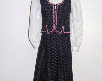 German/Austrian Rose Dirndl Skirt and Vest Pink/Navy European 40 Size M