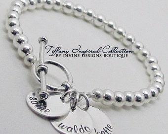 Silver Personalized Bracelet - Mothers Jewelry - Sterling Impressions Three Name Personalized Bracelet