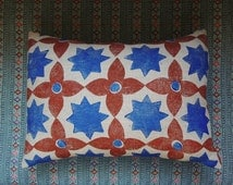 Moroccan Star Geometric Hand Block Printed Linen Decorative Pillow Case