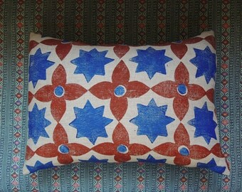 Moroccan Star geometric hand block printed linen colorful decorative home decor pillow case
