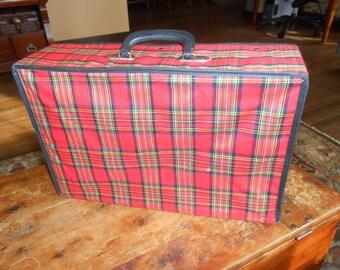 Plaid Suitcase, Tartan Luggage, Collapsible Luggage, Folding Bag